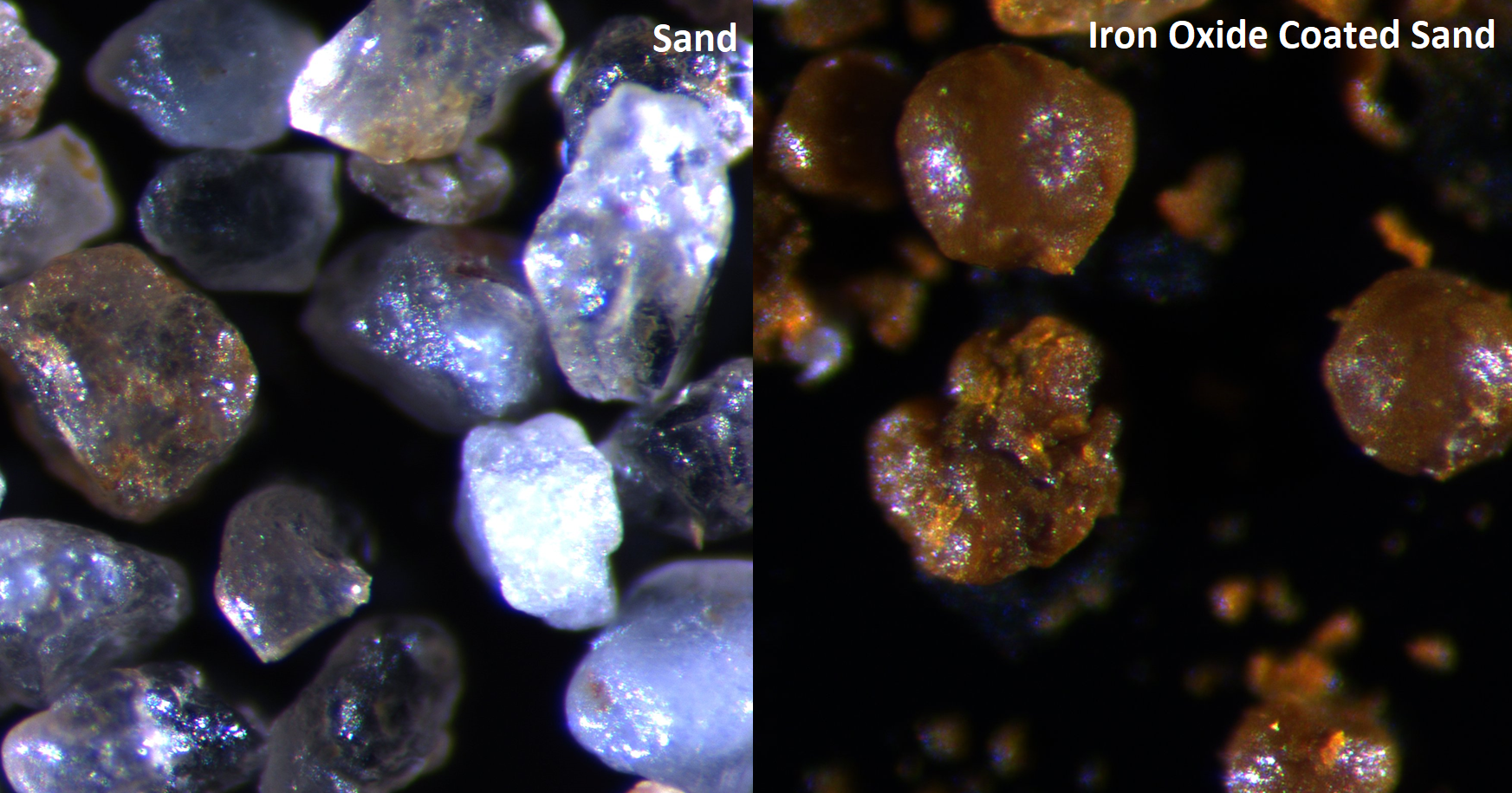 Iron-oxide coated sands created in the lab styles=